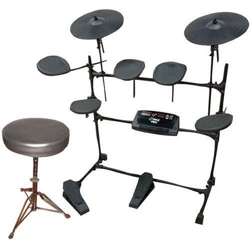 Electric Thunder Drum Kit With MP3 Recorder + Round Padded Keyboard Bench.Electric Thunder Drum Kit With MP3 Recorder. + Double Braced Folding Padded Drum Throne - Keyboard Bench - Guitar Stool.