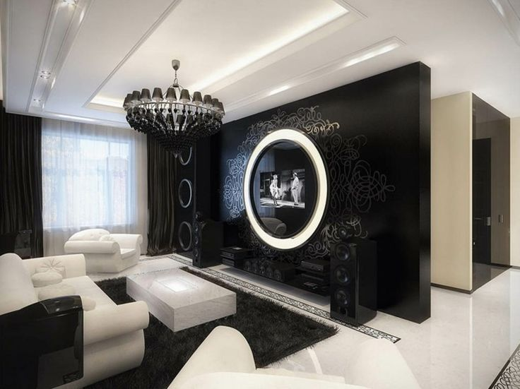 decorar salas en blanco y negro estilo retro