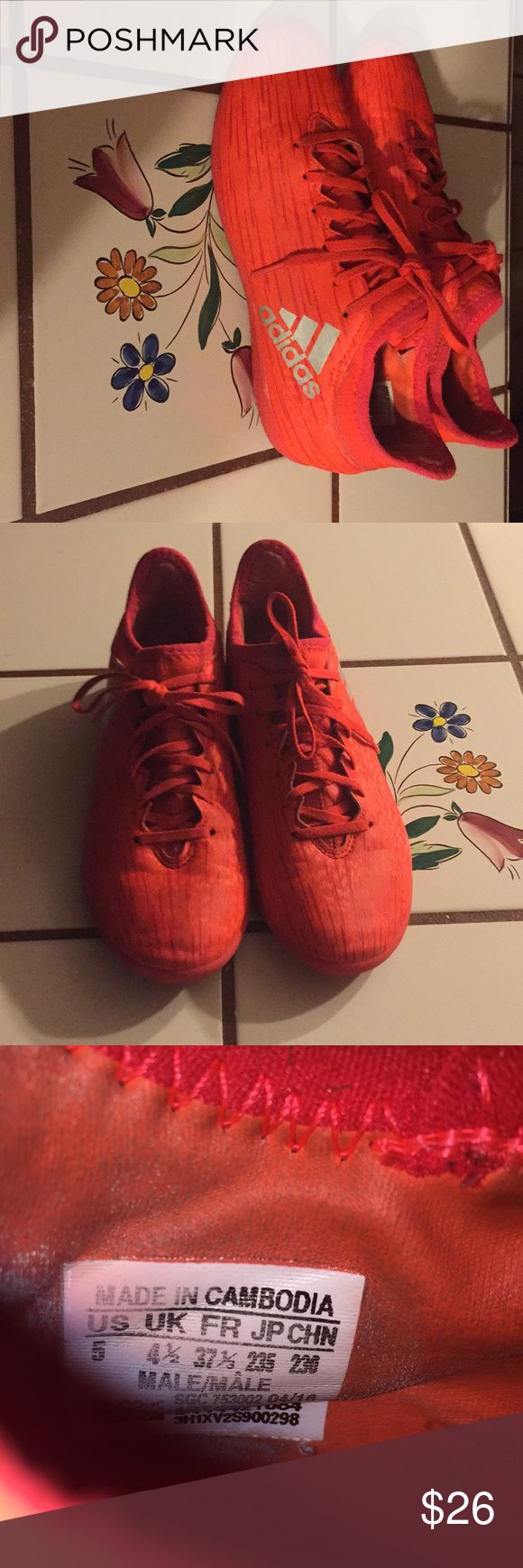 Orange adidas indoor soccer shoes Very cute orange adidas indoor soccer shoes. Size five. Very good condition. Let me know if you have any questions! Bundle for a private offer! adidas Shoes Athletic Shoes