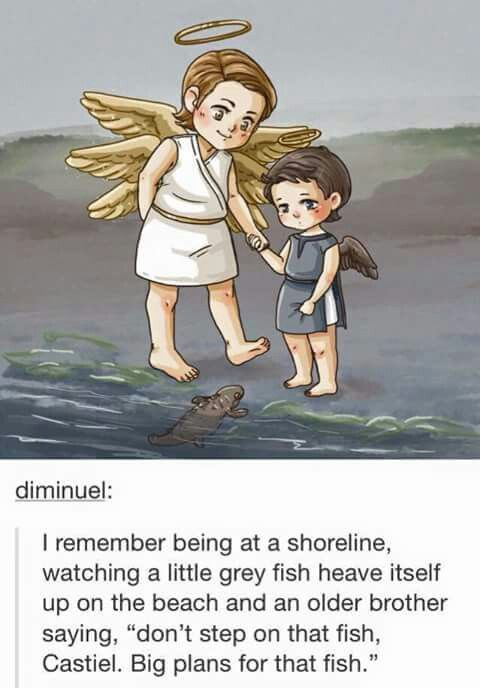 Young Castiel and Gabriel