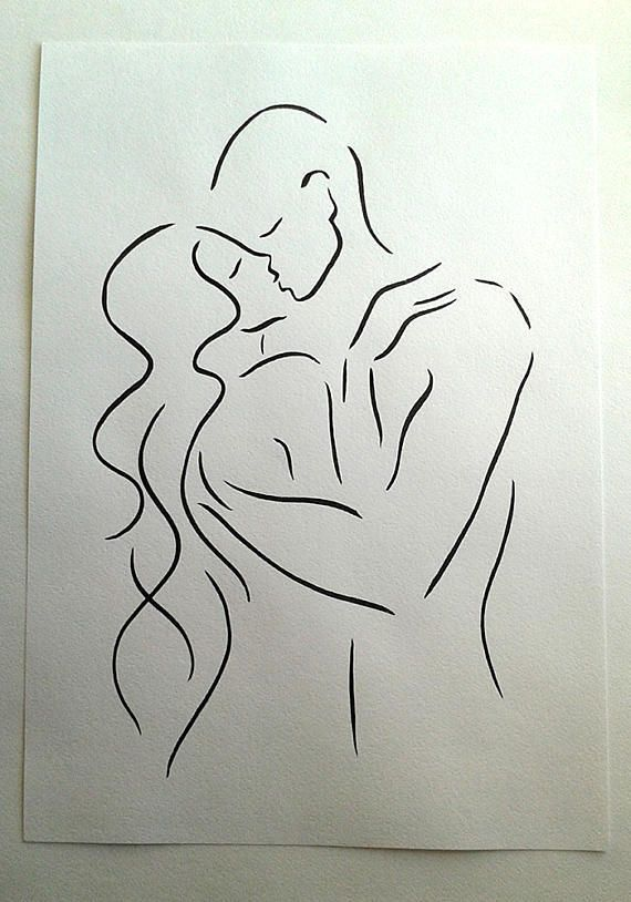 16x11 A3 Kissing Couple Sketch Black And White Line Drawing