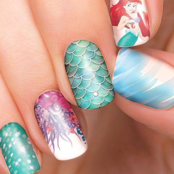 Ariel Disney nail transfers - illustrated nail art decals - little mermaid, Princess, Ariel - Disney nail stickers