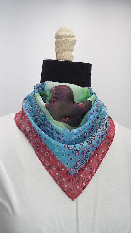 """Beware"" Flower Silk Scarf, Head Wrap, Fashion Accesory, Neck Scarf, Bandana, Fashion Scarf, Neckercheif, Pashima"