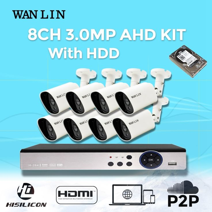 (331.08$)  Watch more here  - WANLIN 8CH 3.0MP AHD DVR Kit with 8Pcs 1536P 3.0MP AHD Video Surveillance Camera System 40Meter Night Vision