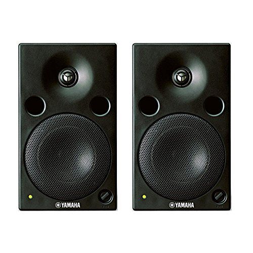 """Yamaha MSP5A Pair Studio Acitve - Two 67W Powered Biamped Monitor Speakers. General Type Biamp. 2-way, bass-reflex powered speaker. General Crossover Frequency 2.5kHz. General Overall Frequency Response 50 Hz ~ 40kHz. Speaker Components LF: 12cm (4 2/7"""") cone (4 ohms); HF: 2.5cm (1"""") titanium dome (6 ohms). Speaker Enclosure Bass reflex type, magnetic shielding construction."""