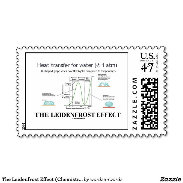 """The Leidenfrost Effect (Chemistry Water) #leidenfrosteffect #chemistry #chemist #water #boilingwater #freeze #geek #attitude #leidenfrost #boiling #boilingpoint #wordsandunwords Here's a stamp featuring """"The Leidenfrost Effect"""",  a physical phenomenon in which a liquid, in near contact with a mass significantly hotter than the liquid's boiling point, produces an insulating vapor layer keeping that liquid from boiling rapidly."""