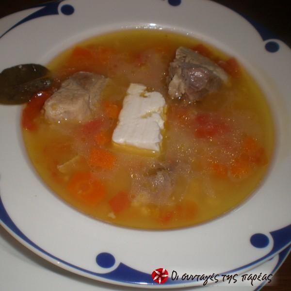 Σούπα χοιρινό με τραχανά #sintagespareas