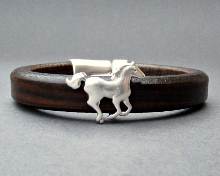 Running Horse, Mens Leather Bracelet, Cuff, Silver Plated, Magnetic Clasp Customized On Your Wrist, Valentines Gift