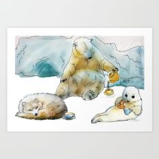 Polar Tea Party Art Print