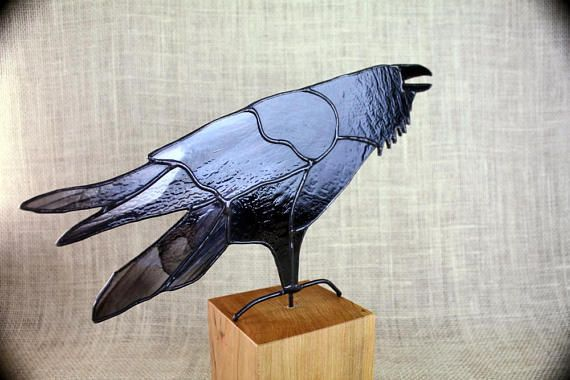 Stained Glass Raven Bird Sculpture , Stained Glass Bird, Raven Art, Gothic, Raven Art, Crow Art, Glass Art, Wildlife Art, Bird Lovers Gift Elegant stained glass Raven panel made with black glass and a black and white streaky glass. Mounted on a solid Cherry wood base. Raven is 12 from tip