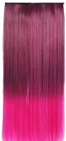 Clip in extension strook / Ombre zwart - hot pink / 60 cm