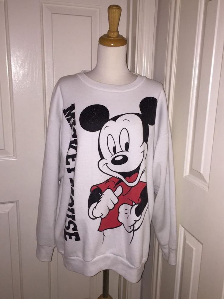Vintage 70's White Mickey Mouse Sweatshirt Size Large Disney Wear USA #DisneyWear #Sweatshirt