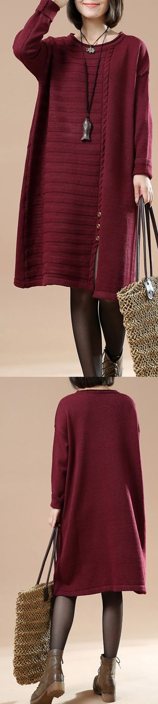 Burgundy half cable knit dresses plus size sweaters