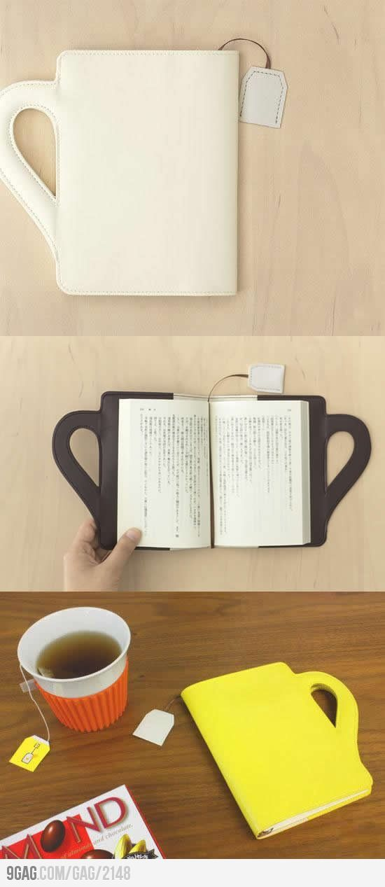"""Cup book cover with tea bag bookmark. I think I could make this cuter with a """"cozy"""" and some appliqué on the tea bag"""