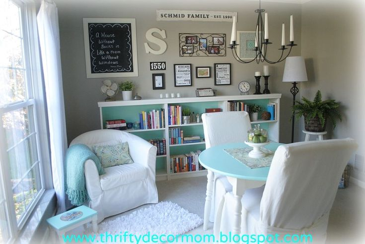Dining Room turned Library - We never used our formal dining room so I decided to turn it into a library. The bookcase was an easy DIY project and the gallery w…