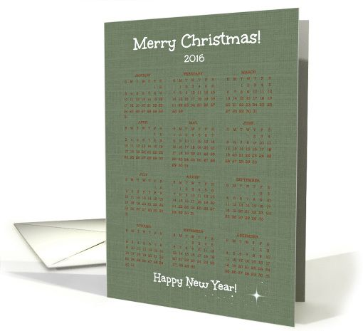 Merry Christmas - Happy New Year -- Green 2016 12-Month Calendar card