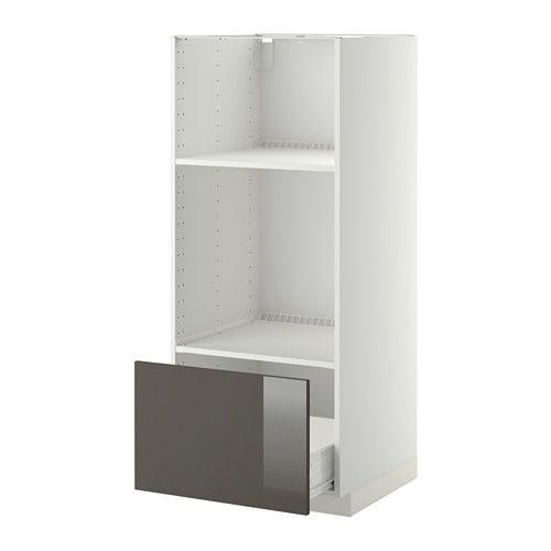 IKEA - METOD / FÖRVARA, Arm four/micro + tir, blanc, Ringhult brillant gris, , Le tiroir FÖRVARA peut être tiré jusqu'au 3/4 de sa profondeur totale et offre beaucoup d'espace de rangement.Vous pouvez choisir l'espacement qui vous convient car la tablette est réglable en hauteur.Structure de construction solide - 18 mm d'épaisseur.