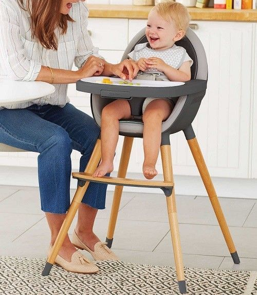 Wooden Baby High Chair Feeding Toddler Booster Infant Table Comfort Seat Grey #WoodenBabyHigh