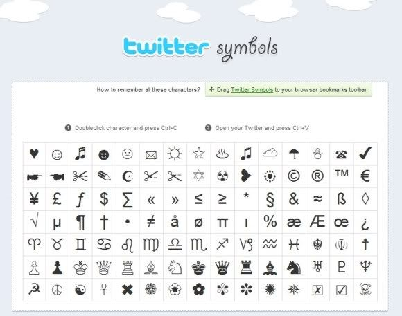 Twitter Symbols – Símbolos para deixar seus tweets mais interessantes.