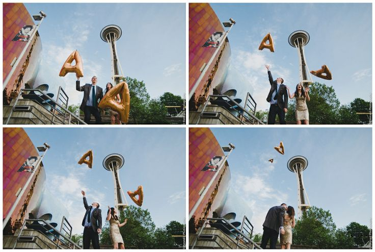 Seattle Space needle fun engagement photo. Gold Letter Ballon, by Julianna Rennard Photography