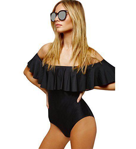 Monokini Maillot de Bain Piscine Femme 1 Piece Hors des épaules Push Up Rembourré Maillot Bain Une Piece Triangl Bandeau Femme Bikini…
