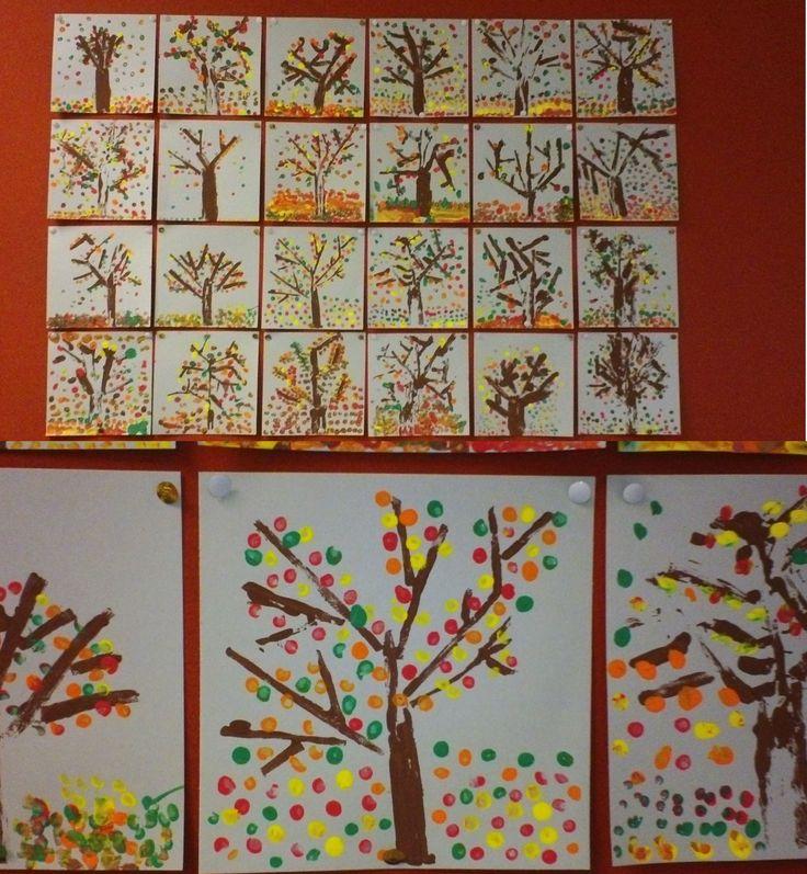 Herfstbomen, gestempeld met zelfgemaakte stempels en wattenstaafjes. Nov. 2013.