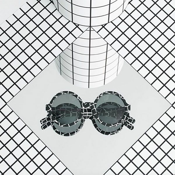 art direction | black and white grid sunglasses still life product  photography