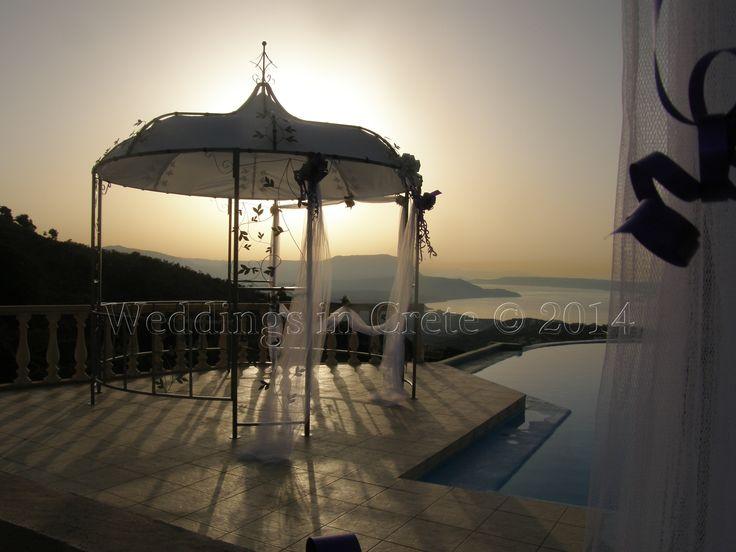 Weddings in Crete - Decorated Pergola.  Villa Ceremony, Chania area