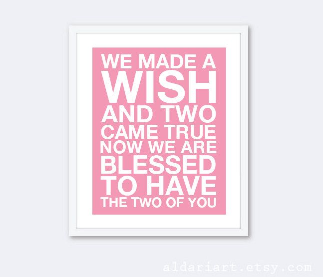 We Made A Wish And Two Came True Twins Print - Twins Quote - Baby Nursery Art - Pink and White - Twin Girls Print - Baby Shower by AldariArt on Etsy