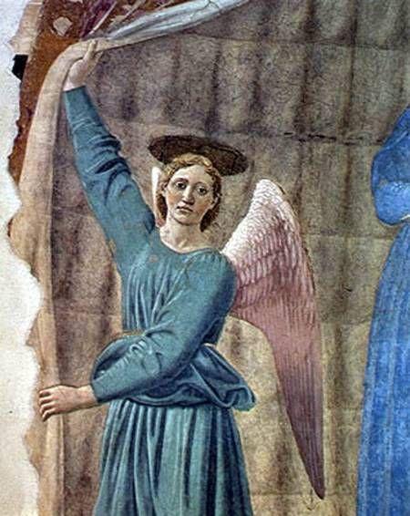Piero della Francesca - Madonna del parto, dettaglio - affresco - 1455-1465 - Museo del Parto, Monterchi (Arezzo)