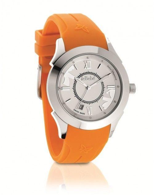 Orologio #LeBebe con cinturino in silicone arancione e cassa in acciaio - #ororagioiellerie