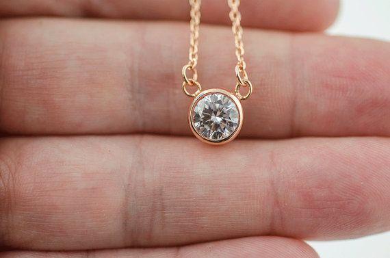 San Valentín joyas 1 quilate diamante CZ collar por LittleSAS