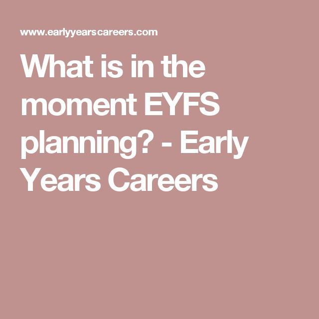 What is in the moment EYFS planning? - Early Years Careers
