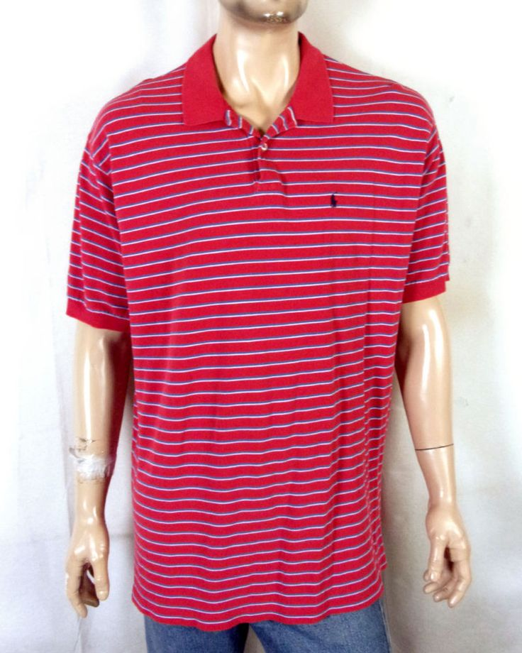 vtg Polo Ralph Lauren Red Striped Polo Shirt Casual Collar Navy Pony sz XXL #PoloRalphLauren #PoloRugby