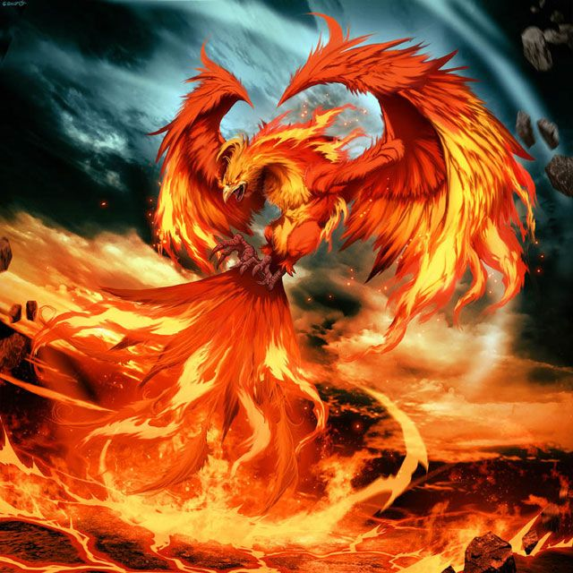 PHOENIX - a golden-red bird that consisted of ony 1 animal, as only 1 could live at a time, that would burst into flames & form a new pheonix from the ashes.