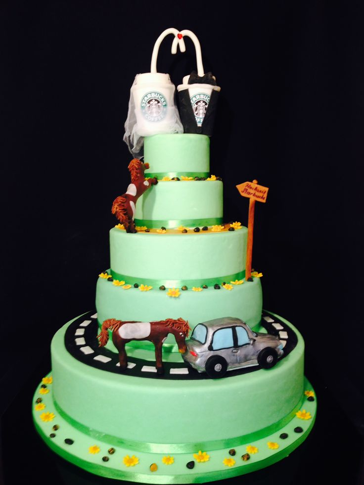 Starbucks wedding cake with Alfa Romeo 146 and horses