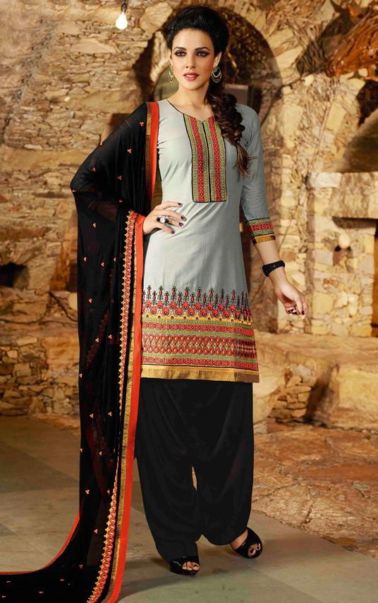USD 31.68 Gray Cotton Embroidery Punjabi Suit 44857