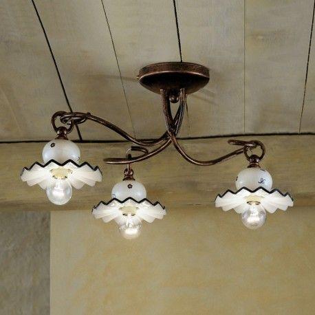 ROMA Plafoniera a 3 luci in Ceramica Decorata Stile Rustico