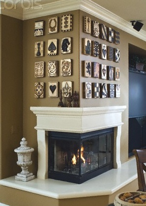 Wrap around fireplace mantel (fireplace like ours, similar wall)