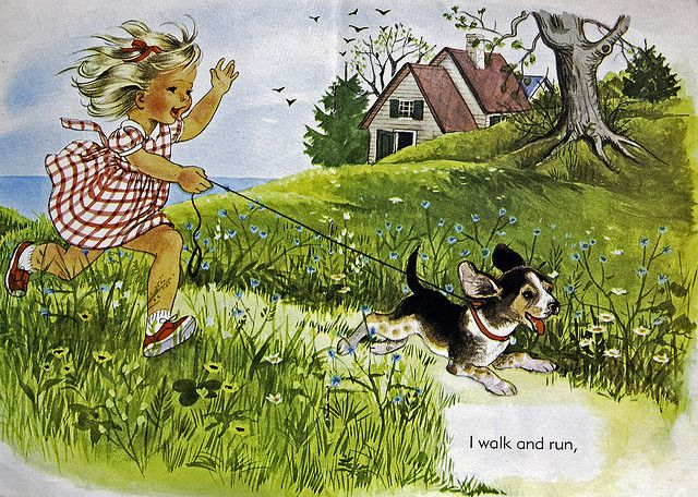 """I walk and run...from a 1966 children's book, """"I'm Suzy"""". Illustrations by Alice Schlesinger."""
