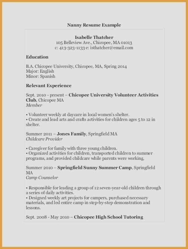 68 Beautiful Collection Of Child Care Job Resume Examples Sejarah