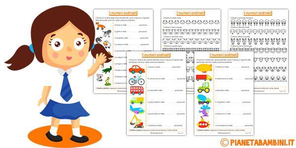 Tante schede didattiche con esercizi divertenti e stimolanti sui numeri ordinali pronte da stampare in PDF gratis per bambini della scuola primaria