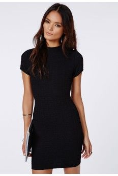 #MissguidedAW14 Trisha Textured High Neck Bodycon Dress Black