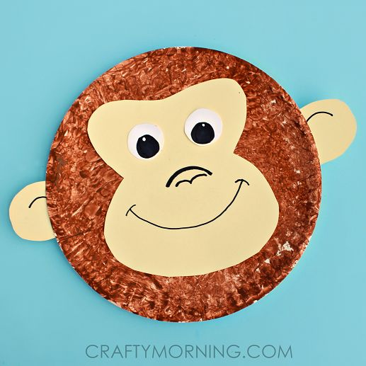 Paper Plate Monkey Kids Craft Idea - Crafty Morning - teach 'ey' spelling as in monkey
