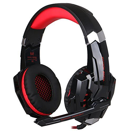 BlueFire Gaming Headset for PlayStation 4 PS4 Tablet PC iPhone 6/6s/6 plus/5s/5c/5 Mobilephones,3.5mm Headphone with Microphone LED Light(Red)