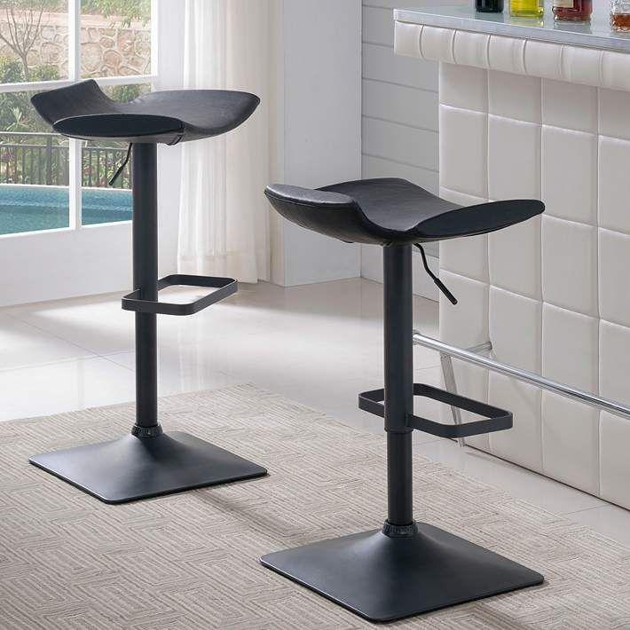 Leick Black Adjustable Height Swivel Bar Stools Set Of 2 74p77 Lamps Plus In 2020 Swivel Bar Stools Bar Stools Black Bar Stools