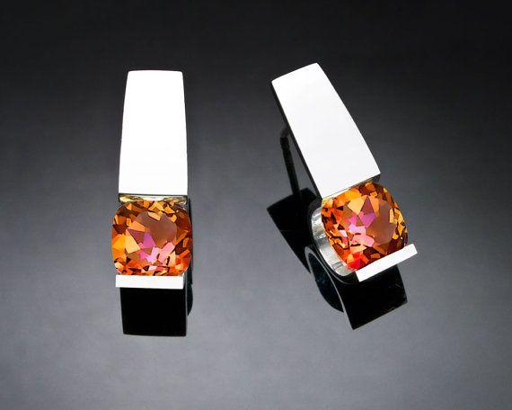 mystic topaz earrings - Argentium silver - eco-friendly - posts - tension set - gemstone jewelry - 2431