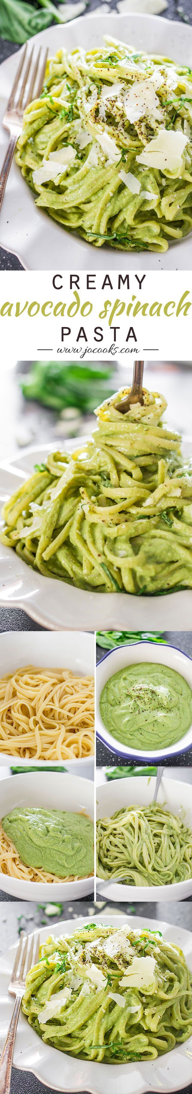 Creamy Avocado and Spinach Pasta. Can be made Paleo by using zucchini noodles #healthy #avocado #zucchini #pasta