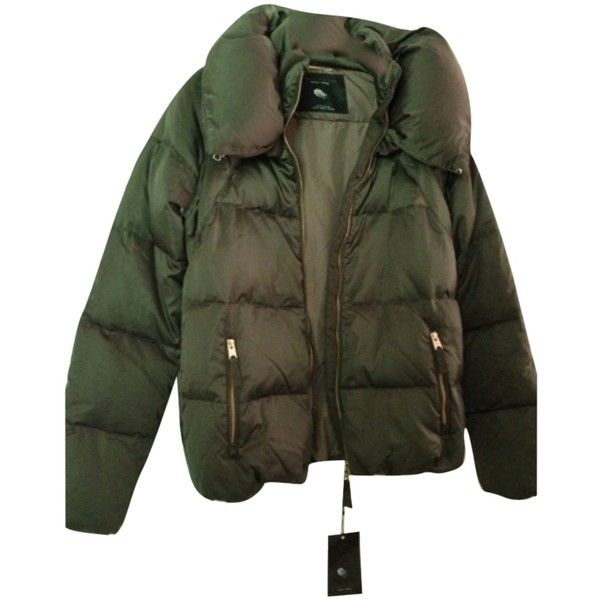 Pre-owned Zara Jacket Coat ($145) ❤ liked on Polyvore featuring outerwear, coats, green, green puffer jacket, zara coat, puffer jacket, feather coat and puffy jacket