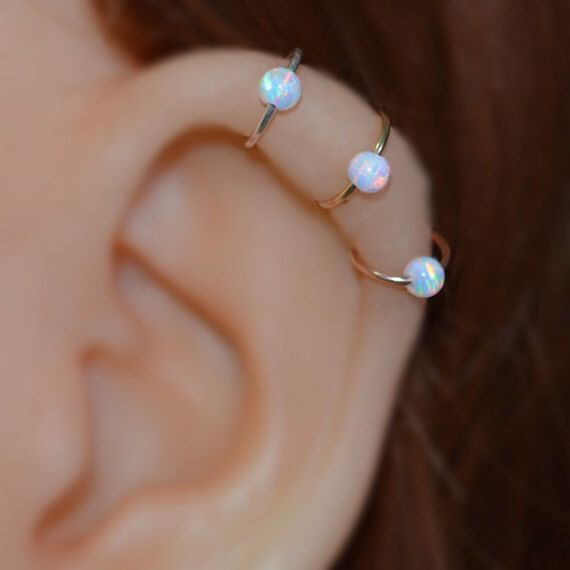 Extra Small Opal 14k Gold Filled Nose Ring, 20g Hoop Earring, helix/cartilage/rook/daith tragus piercing 20 Gauge handcrafted/handmade by ModernJewelBoutique on Etsy https://www.etsy.com/listing/202435421/extra-small-opal-14k-gold-filled-nose